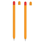 2 Sets 5 In 1 Stylus Silicone Protective Cover + Two-Color Pen Cap + 2 Nib Cases Set For Apple Pencil 1 (Orange)