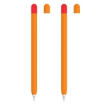 2 Sets 5 In 1 Stylus Silicone Protective Cover + Two-Color Pen Cap + 2 Nib Cases Set For Apple Pencil 2 (Orange)
