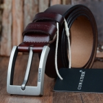 COWATHER XF004 Men Two-Layer Cowhide Business Casual Pin Buckle Belt,Length:, Length (cm): 125cm(Silver Buckle Coffee Color)