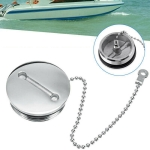 Stainless Steel Boat Deck Fill Filler Replacement Cap + Chain Boat Replacement Accessories