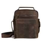 6479 Men Casual Large-Capacity One-Shoulder Messenger Leather Bag(Crazy Horse Texture Dark Brown)
