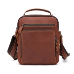 6479 Men Casual Large-Capacity One-Shoulder Messenger Leather Bag(Crazy Horse Texture Red Brown)