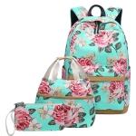 3 PCS/Set Printed Backpack USB Computer Backpack Student Canvas School Bag(Green)