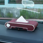 Car Dashboard Diamond Paper Towel Box with Temporary Parking Phone Number Card & Phone Holder & Clock(Wine Red)