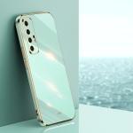 For Xiaomi Mi 10S XINLI Straight 6D Plating Gold Edge TPU Shockproof Case(Mint Green)