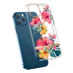 High Translucent Electroplating Flower Pattern TPU + PC Shockproof Case For iPhone 12 / 12 Pro(Hibiscus)