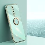 For Xiaomi Redmi K30 XINLI Straight 6D Plating Gold Edge TPU Shockproof Case with Ring Holder(Mint Green)
