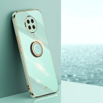 For Xiaomi Redmi K30 Pro XINLI Straight 6D Plating Gold Edge TPU Shockproof Case with Ring Holder(Mint Green)