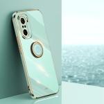 For Xiaomi Redmi K40 XINLI Straight 6D Plating Gold Edge TPU Shockproof Case with Ring Holder(Mint Green)