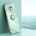 For Xiaomi Redmi Note 9 5G XINLI Straight 6D Plating Gold Edge TPU Shockproof Case with Ring Holder(Mint Green)