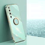 For Xiaomi Mi 10 5G XINLI Straight 6D Plating Gold Edge TPU Shockproof Case with Ring Holder(Mint Green)