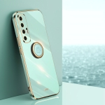 For Xiaomi Mi 10S XINLI Straight 6D Plating Gold Edge TPU Shockproof Case with Ring Holder(Mint Green)