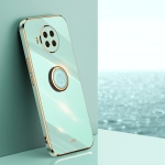 For Xiaomi Mi 10T Lite 5G XINLI Straight 6D Plating Gold Edge TPU Shockproof Case with Ring Holder(Mint Green)