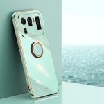 For Xiaomi Mi 11 Ultra XINLI Straight 6D Plating Gold Edge TPU Shockproof Case with Ring Holder(Mint Green)