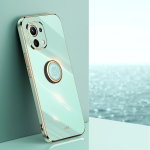 For Xiaomi Mi 11 Lite XINLI Straight 6D Plating Gold Edge TPU Shockproof Case with Ring Holder(Mint Green)