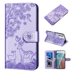 For Samsung Galaxy A82 5G Sika Deer Embossing Pattern Horizontal Flip PU Leather Case with Holder & Card Slot & Wallet & Photo Frame(Purple)