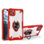 Matte TPU + PC Magnetic Shockproof Case with Ring Holder For iPhone 13 mini(Red)