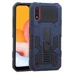 For Samsung Galaxy A01 Vanguard Warrior All Inclusive Double-color Shockproof TPU + PC Protective Case with Holder(Cobalt Blue)