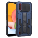 For Samsung Galaxy A01 US Version Vanguard Warrior All Inclusive Double-color Shockproof TPU + PC Protective Case with Holder(Cobalt Blue)