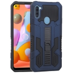 For Samsung Galaxy A11 Vanguard Warrior All Inclusive Double-color Shockproof TPU + PC Protective Case with Holder(Cobalt Blue)