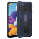 For Samsung Galaxy A21 US Version Vanguard Warrior All Inclusive Double-color Shockproof TPU + PC Protective Case with Holder(Cobalt Blue)