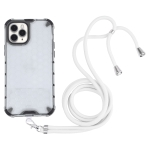 Shockproof Honeycomb PC + TPU Case with Neck Lanyard For iPhone 11 Pro(White)
