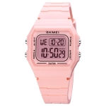 SKMEI 1683 Dual Time LED Digital Display Luminous Silicone Strap Electronic Watch(Pink)