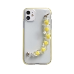 Dual-color PC+TPU Shockproof Case with Heart Beads Wrist Bracelet Chain For iPhone 12 / 12 Pro(Yellow)
