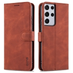For Samsung Galaxy S21 Ultra 5G AZNS Skin Feel Calf Texture Horizontal Flip Leather Case with Card Slots & Holder & Wallet(Brown)