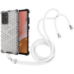 For Samsung Galaxy A72 5G / 4G Shockproof Honeycomb PC + TPU Case with Neck Lanyard(White)
