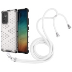 For Samsung Galaxy A82 5G Shockproof Honeycomb PC + TPU Case with Neck Lanyard(White)