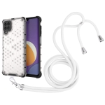 For Samsung Galaxy Galaxy M12 / F12 Shockproof Honeycomb PC + TPU Case with Neck Lanyard(White)
