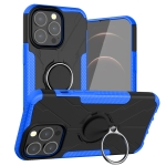 Armor Bear Shockproof PC + TPU Protective Case with Ring Holder For iPhone 13(Blue)