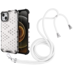 Shockproof Honeycomb PC + TPU Case with Neck Lanyard For iPhone 13(White)