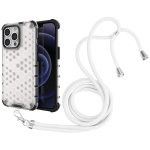 Shockproof Honeycomb PC + TPU Case with Neck Lanyard For iPhone 13 Pro(White)