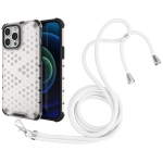 Shockproof Honeycomb PC + TPU Case with Neck Lanyard For iPhone 13 Pro Max(White)
