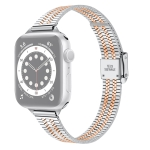 14mm Seven-beads Double Safety Buckle Slim Steel Replacement Strap Watchband For Apple Watch Series 6 & SE & 5 & 4 40mm / 3 & 2 & 1 38mm(Silver Gold)