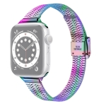 14mm Seven-beads Double Safety Buckle Slim Steel Replacement Strap Watchband For Apple Watch Series 6 & SE & 5 & 4 40mm / 3 & 2 & 1 38mm(Colorful)