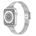 14mm Seven-beads Double Safety Buckle Slim Steel Replacement Strap Watchband For Apple Watch Series 6 & SE & 5 & 4 40mm / 3 & 2 & 1 38mm(Silver)