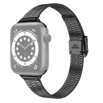 14mm Seven-beads Double Safety Buckle Slim Steel Replacement Strap Watchband For Apple Watch Series 6 & SE & 5 & 4 44mm / 3 & 2 & 1 42mm(Black)