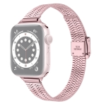 14mm Seven-beads Double Safety Buckle Slim Steel Replacement Strap Watchband For Apple Watch Series 6 & SE & 5 & 4 44mm / 3 & 2 & 1 42mm(Rose Pink)