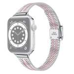 14mm Seven-beads Double Safety Buckle Slim Steel Replacement Strap Watchband For Apple Watch Series 6 & SE & 5 & 4 44mm / 3 & 2 & 1 42mm(Silver Pink)