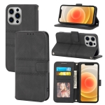 Embossed Striped Magnetic Buckle PU + TPU Horizontal Flip Leather Case with Holder & Card Slot & Wallet & Photo Frame & Sling For iPhone 13 Pro(Black)