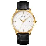 SKMEI 1801 Men Casual Calendar Quartz Watch(Gold and White)