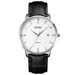 SKMEI 1801 Men Casual Calendar Quartz Watch(Silver White Black)