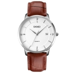 SKMEI 1801 Men Casual Calendar Quartz Watch(Silver White Brown)