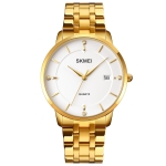 SKMEI 1801 Men Casual Calendar Quartz Watch(Golden Steel Belt)