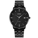 SKMEI 1801 Men Casual Calendar Quartz Watch(Black Steel Belt)