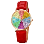 SKMEI 1811 Eight Color Diamond Round Dial Quartz Watch for Ladies(Red Leather Belt)