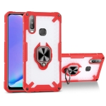 Matte TPU + PC Magnetic Shockproof Case with Ring Holder For vivo Y17(Red)